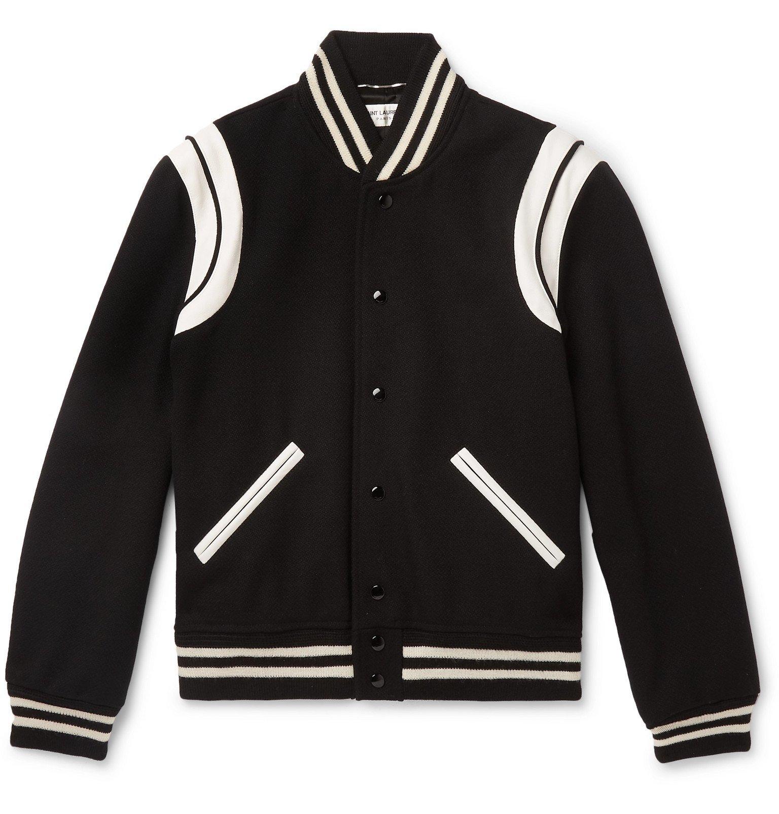 Photo: SAINT LAURENT - Teddy Leather-Trimmed Virgin Wool-Blend Bomber Jacket - Black