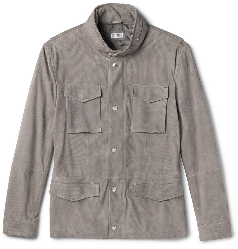 Photo: Brunello Cucinelli - Slim-Fit Corduroy-Effect Suede Field Jacket - Taupe