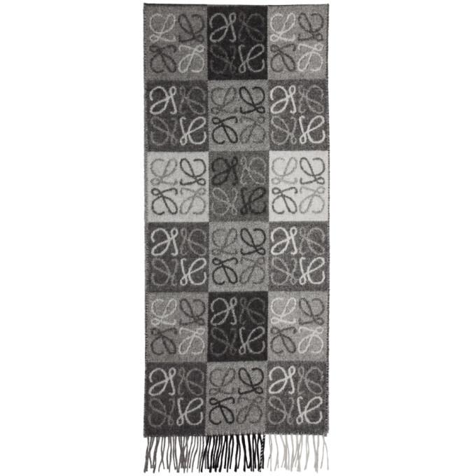 Photo: Loewe Black and Grey Anagram Scarf