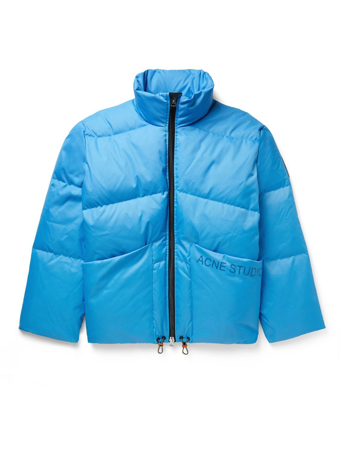 Photo: Acne Studios - Oversized Logo-Print Quilted Shell Down Jacket - Blue