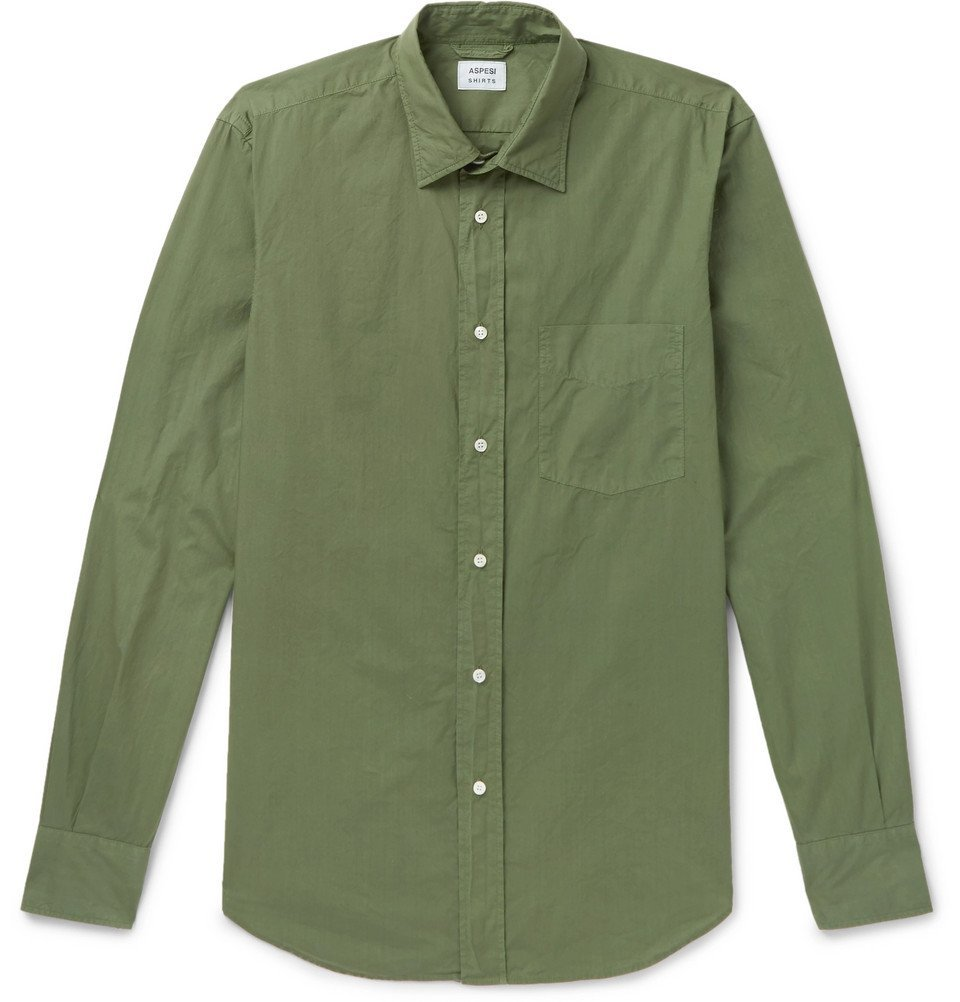 Photo: Aspesi - Slim-Fit Garment-Dyed Cotton-Poplin Shirt - Men - Green