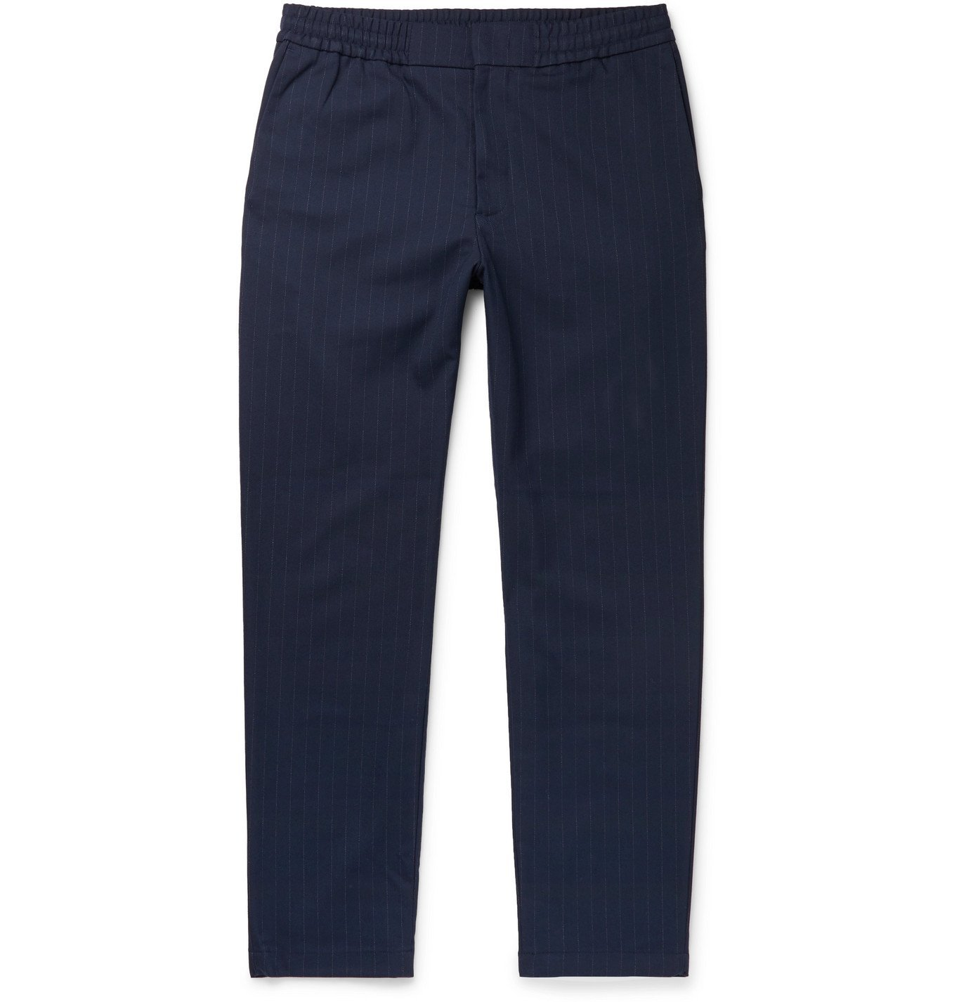 Photo: NN07 - Foss Tapered Pinstriped Flannel Trousers - Blue