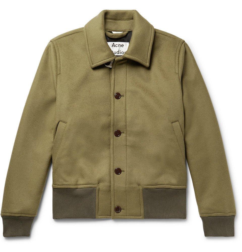 Acne Studios - Ollys Brushed Wool-Blend Blouson Jacket - Men - Army green