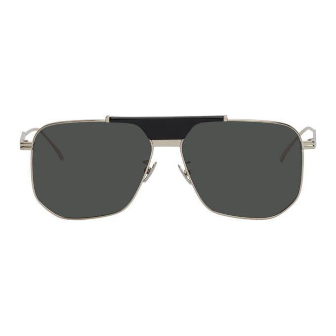Photo: Bottega Veneta Silver and Green Aviator Sunglasses
