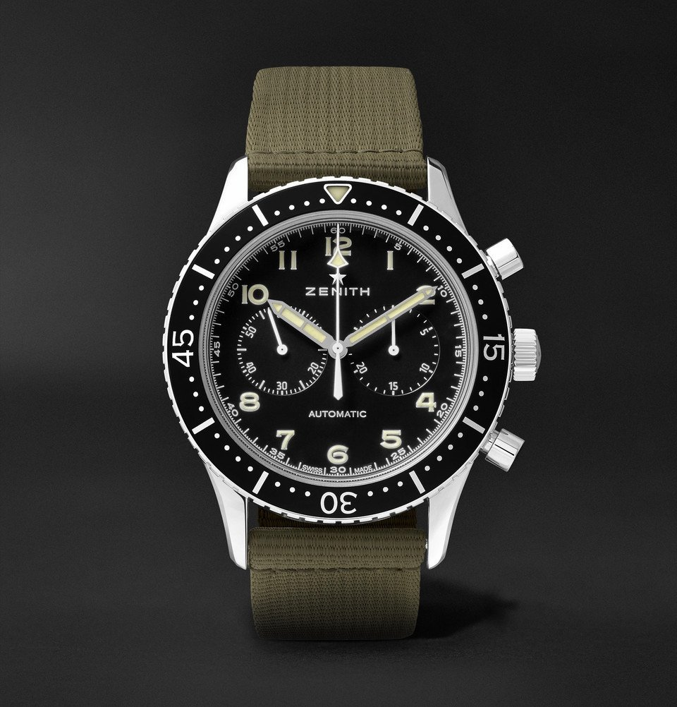 Photo: Zenith - Pilot Cronometro TIPO CP-2 Automatic 43mm Stainless Steel and Leather Watch - Black