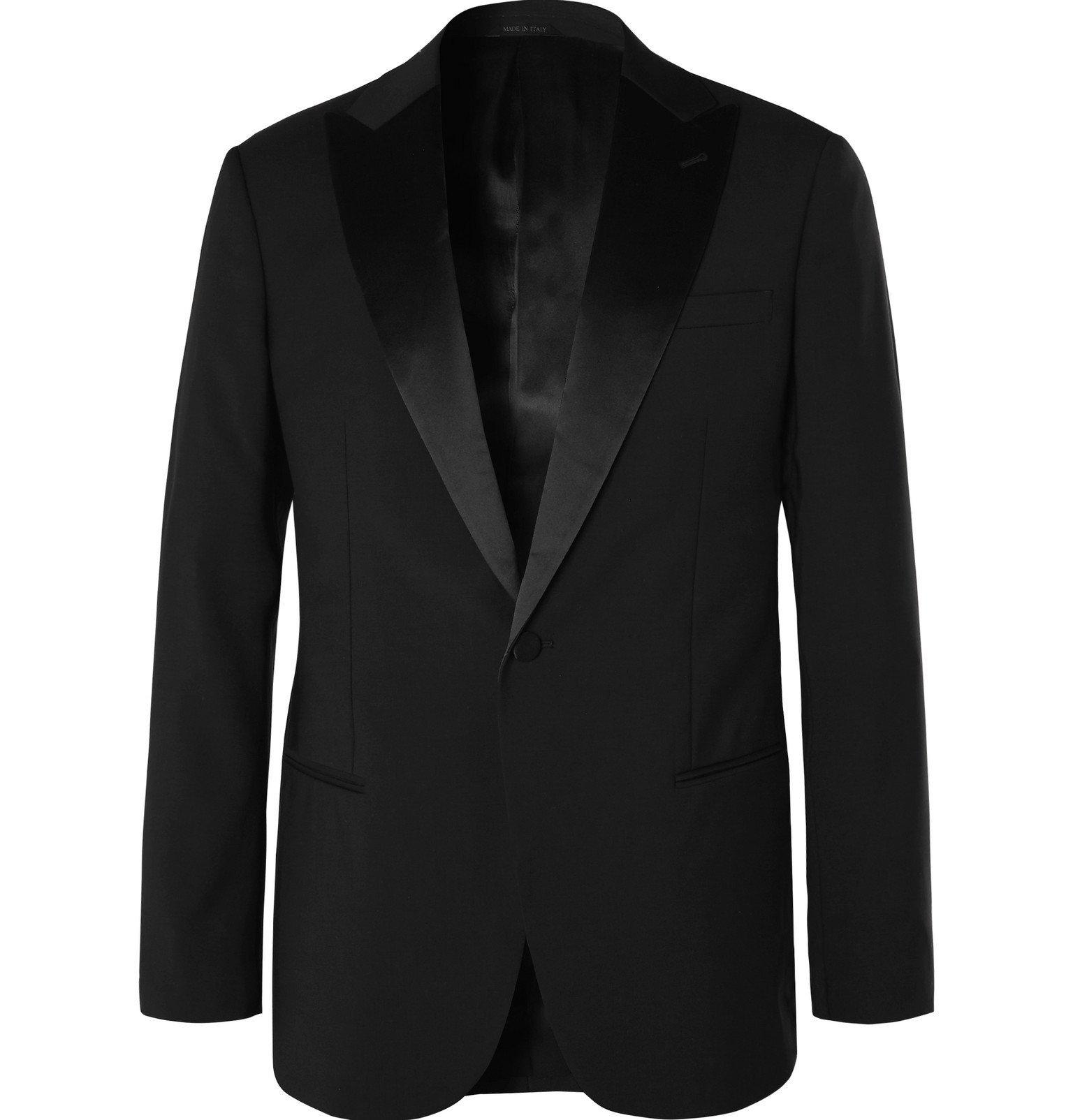 Giorgio Armani - Black Soho Slim-Fit Mulberry Silk Satin-Trimmed Virgin Wool Tuxedo Jacket - Black