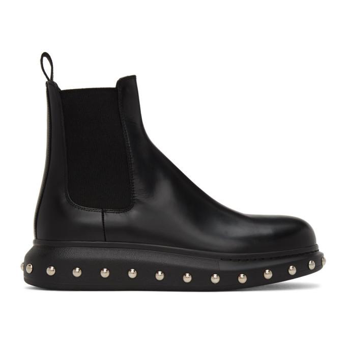 Photo: Alexander McQueen Black Liquid Spaz Chelsea Boots
