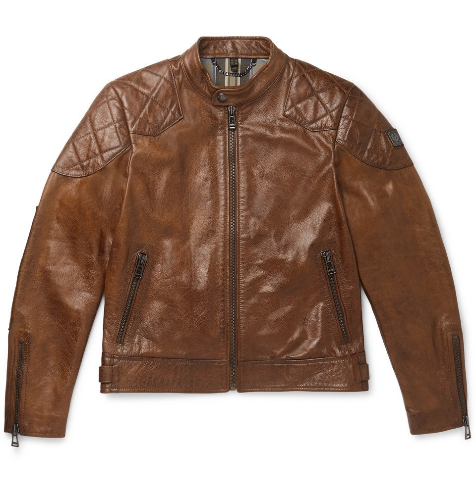Photo: Belstaff - Outlaw Leather Biker Jacket - Brown