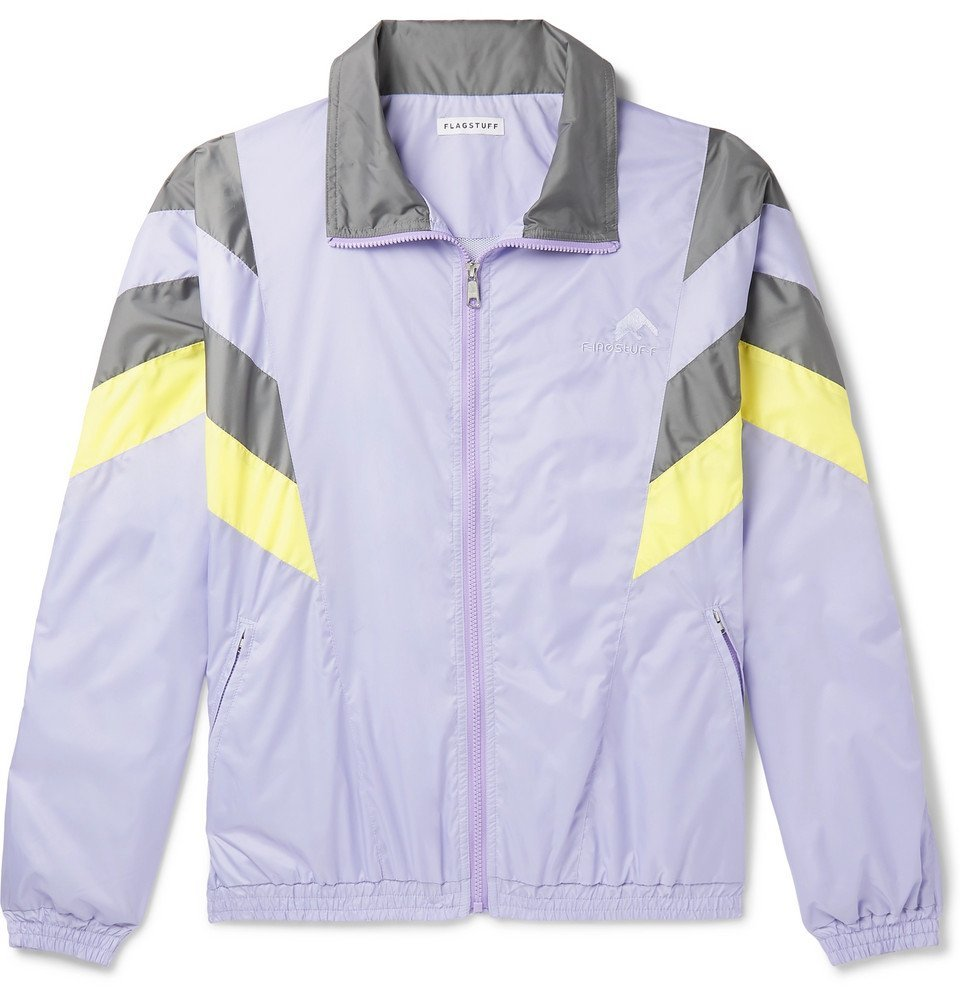 Photo: Flagstuff - Logo-Embroidered Tech-Shell Track Jacket - Purple