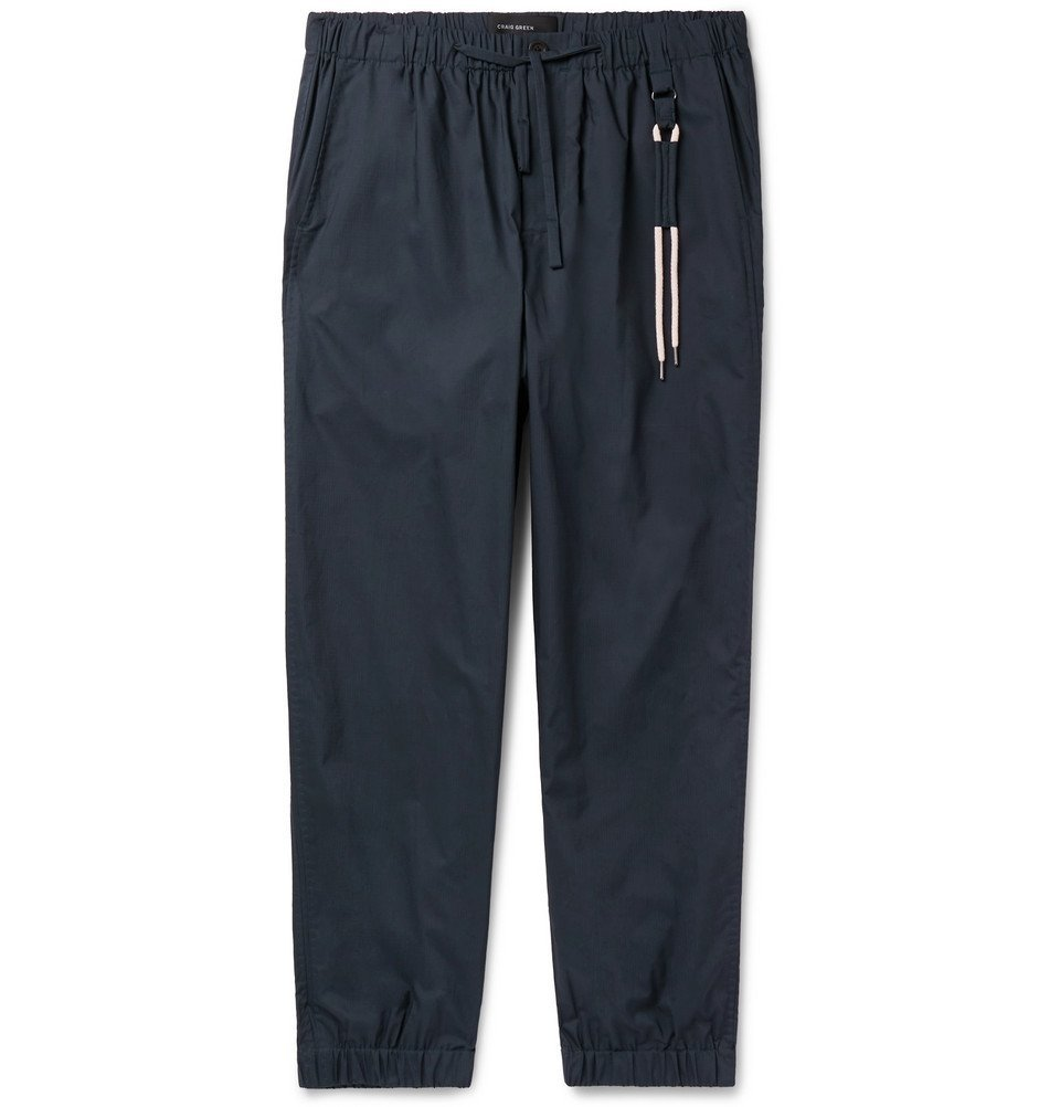 Photo: Craig Green - Tapered Cotton-Ripstop Drawstring Trousers - Navy