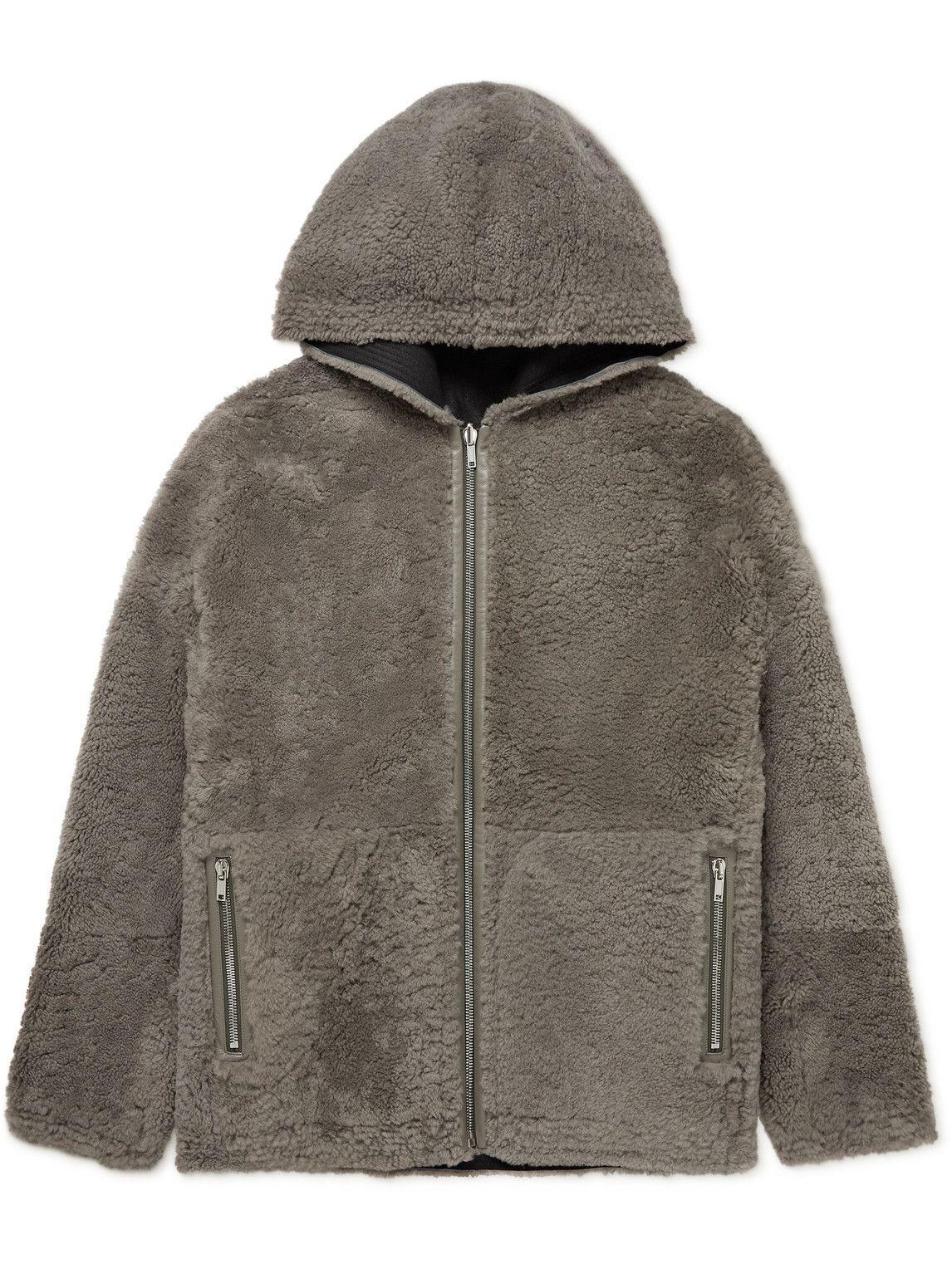 Photo: Rick Owens - Oversized Reversible Shearling Hooded Jacket - Gray