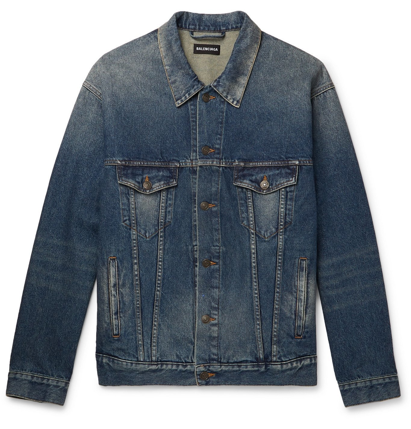 Photo: Balenciaga - Oversized Embroidered Denim Jacket - Blue