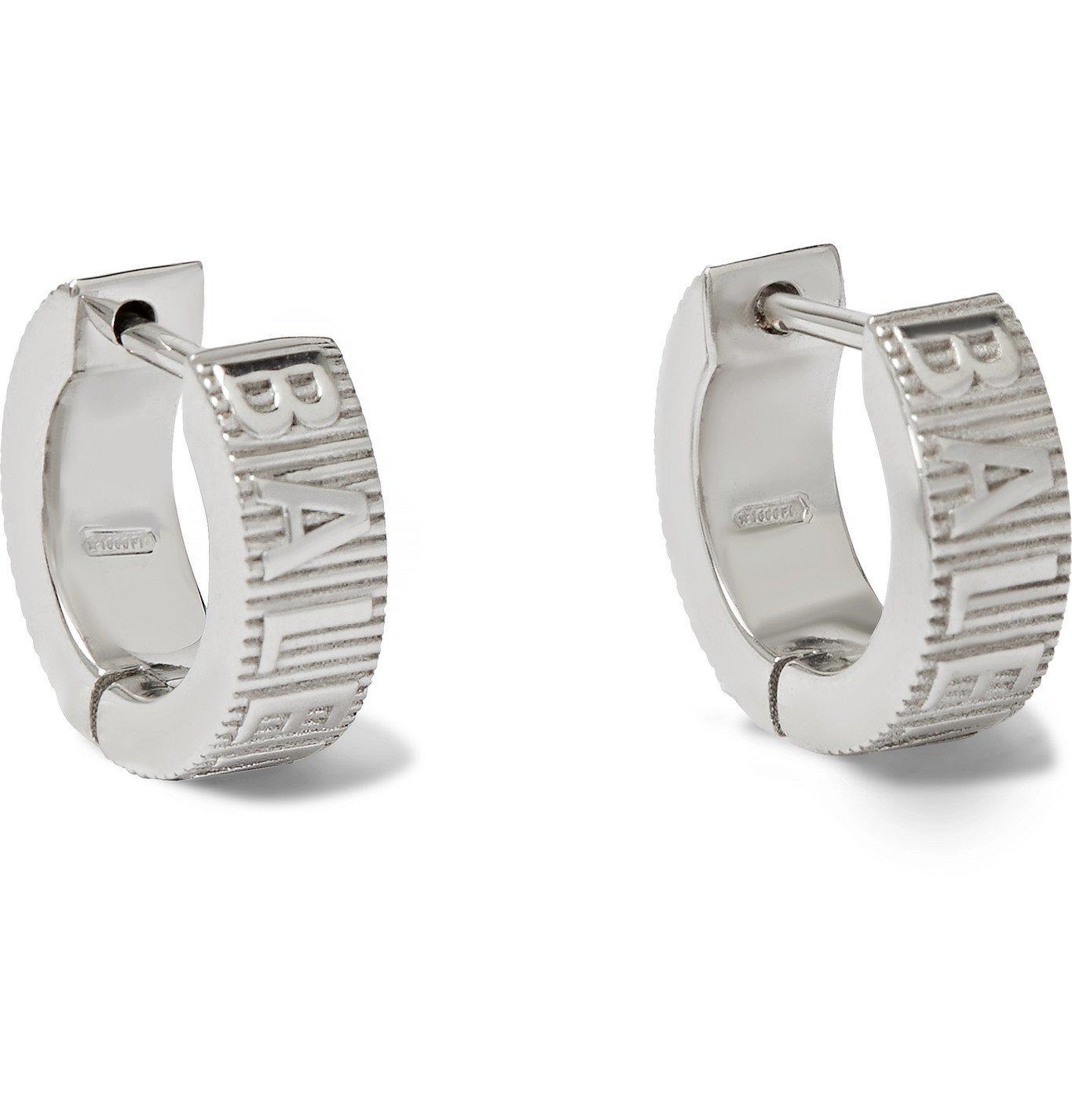 Photo: BALENCIAGA - Logo-Engraved Silver-Tone Earrings - Silver