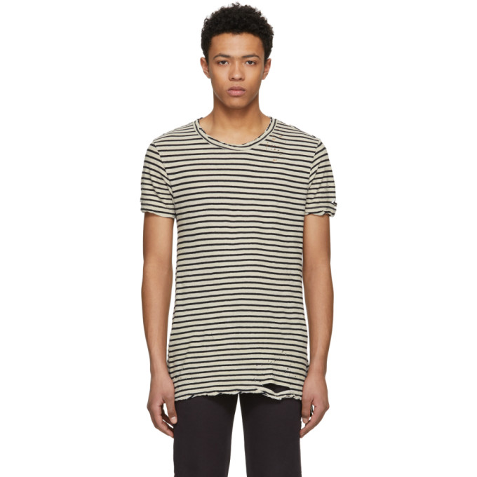 Ksubi Black and Off-White Striped Sinister T-Shirt