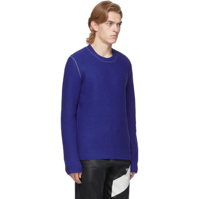 Helmut Lang Blue Wool Overwashed Felted Sweater