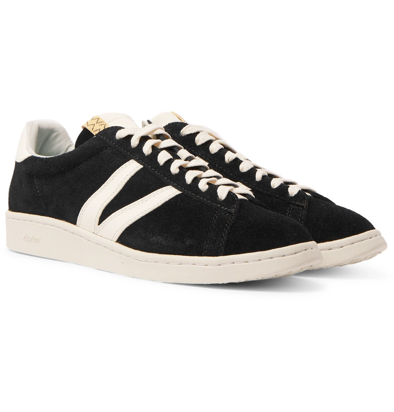 Photo: visvim - Corda-Folk Leather-Trimmed Suede Sneakers - Black