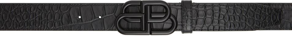 Photo: Balenciaga Black Croc Large BB Buckle Belt