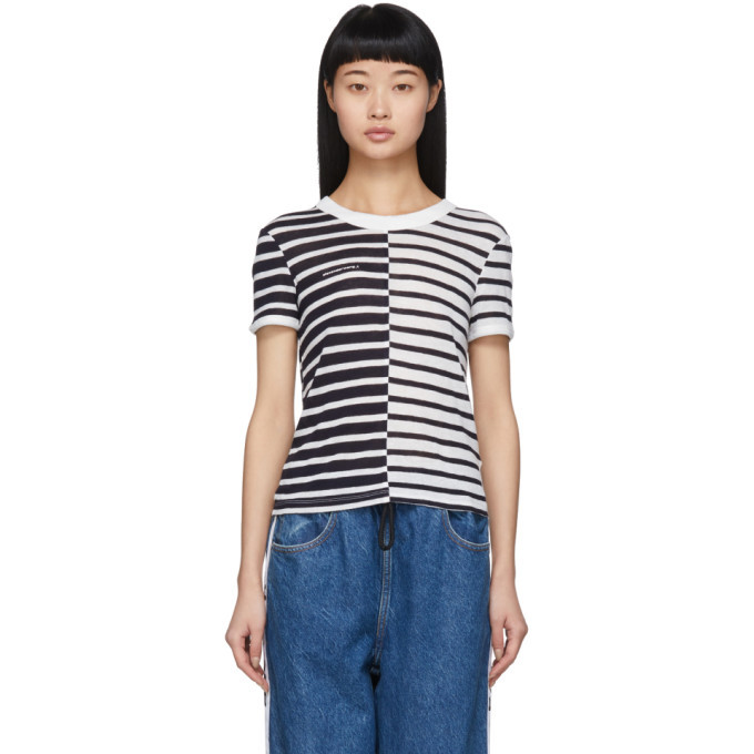 Photo: alexanderwang.t Navy and White Striped Slub Shrunken T-Shirt