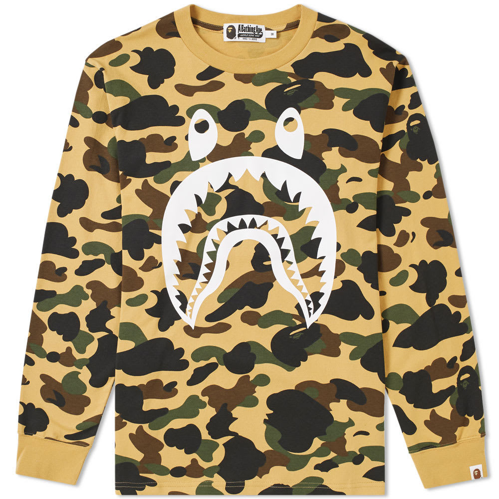 Photo: A Bathing Ape Long Sleeve 1st Camo Shark Tee