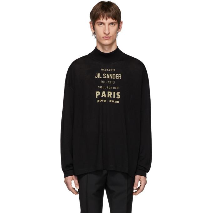 Photo: Jil Sander Black Oversized Boxy Logo Sweater
