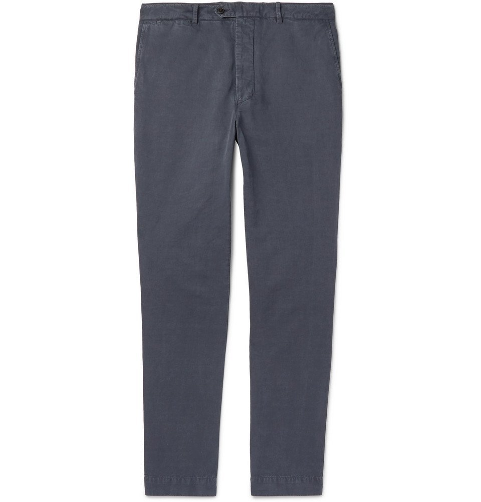 Photo: Officine Generale - New Fisherman Slim-Fit Garment-Dyed Cotton and Linen-Blend Chinos - Navy