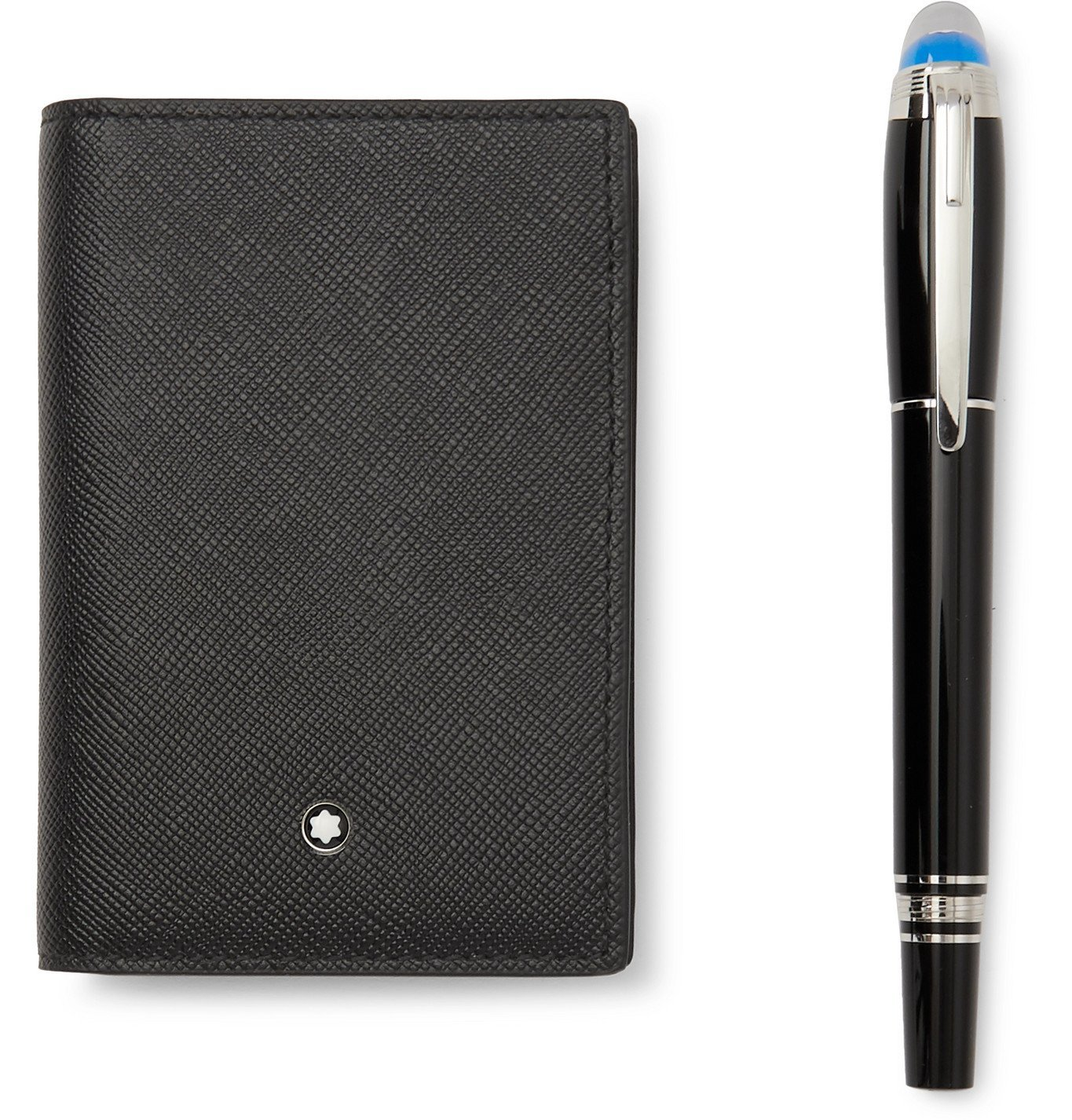 Photo: Montblanc - StarWalker Resin Ballpoint Pen and Leather Business Card Holder Set - Black