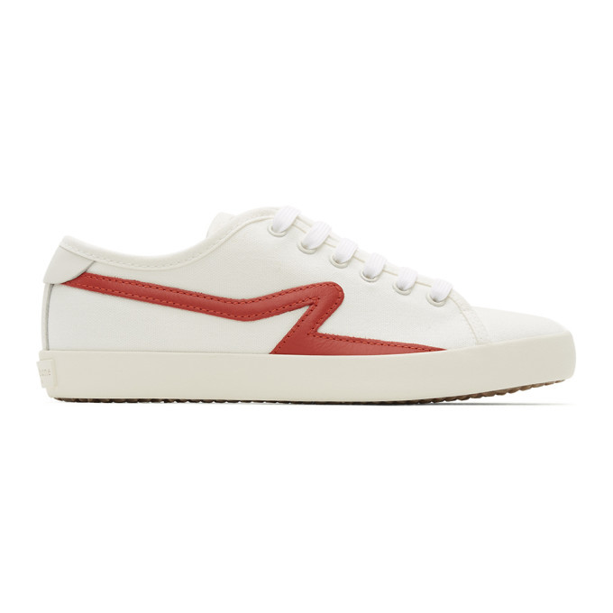 Photo: rag and bone White and Red Canvas Court Sneakers