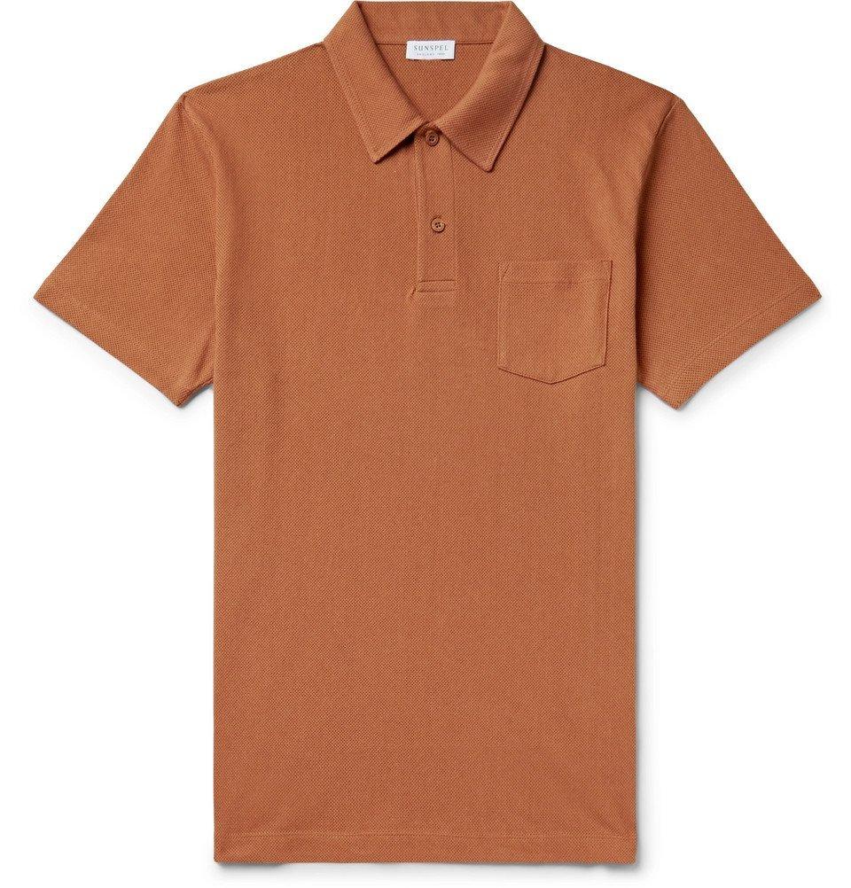 Sunspel - Riviera Slim-Fit Cotton-Mesh Polo Shirt - Camel