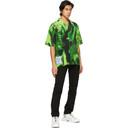 MCQ Black and Green Silk Rave Short Sleeve Shirt