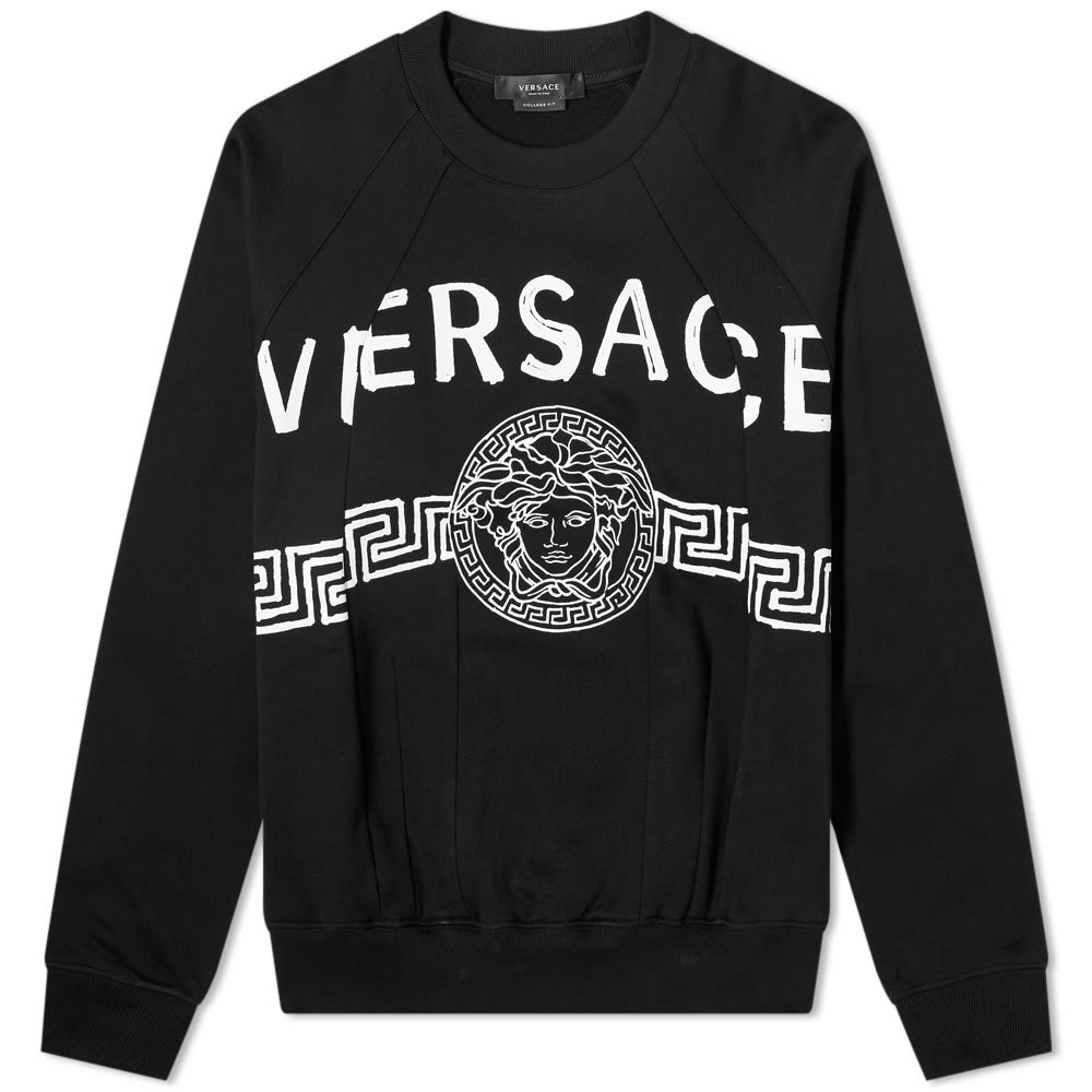 Photo: Versace Cut and Sew Graffiti Logo Crew Sweat