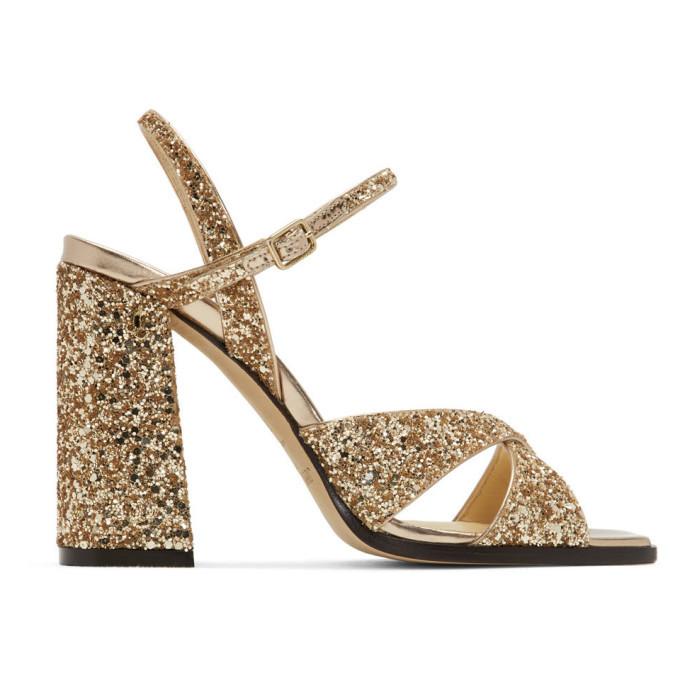 Photo: Jimmy Choo Gold Glitter Joya Heeled Sandals