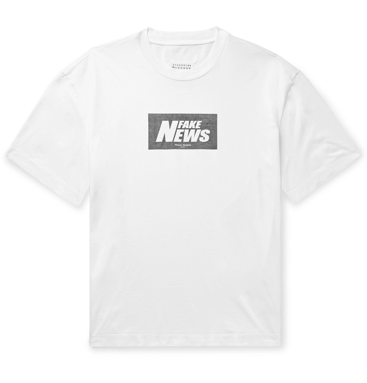 Photo: Maison Margiela - Printed Cotton-Jersey T-Shirt - White