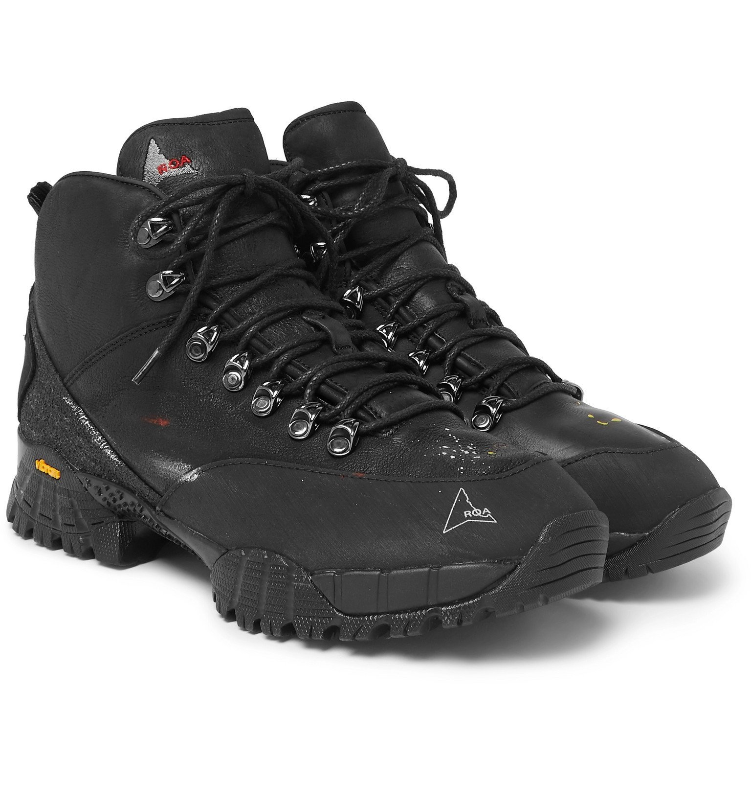 Photo: ROA - Andreas Paint-Splattered Leather and Rubber Hiking Boots - Black