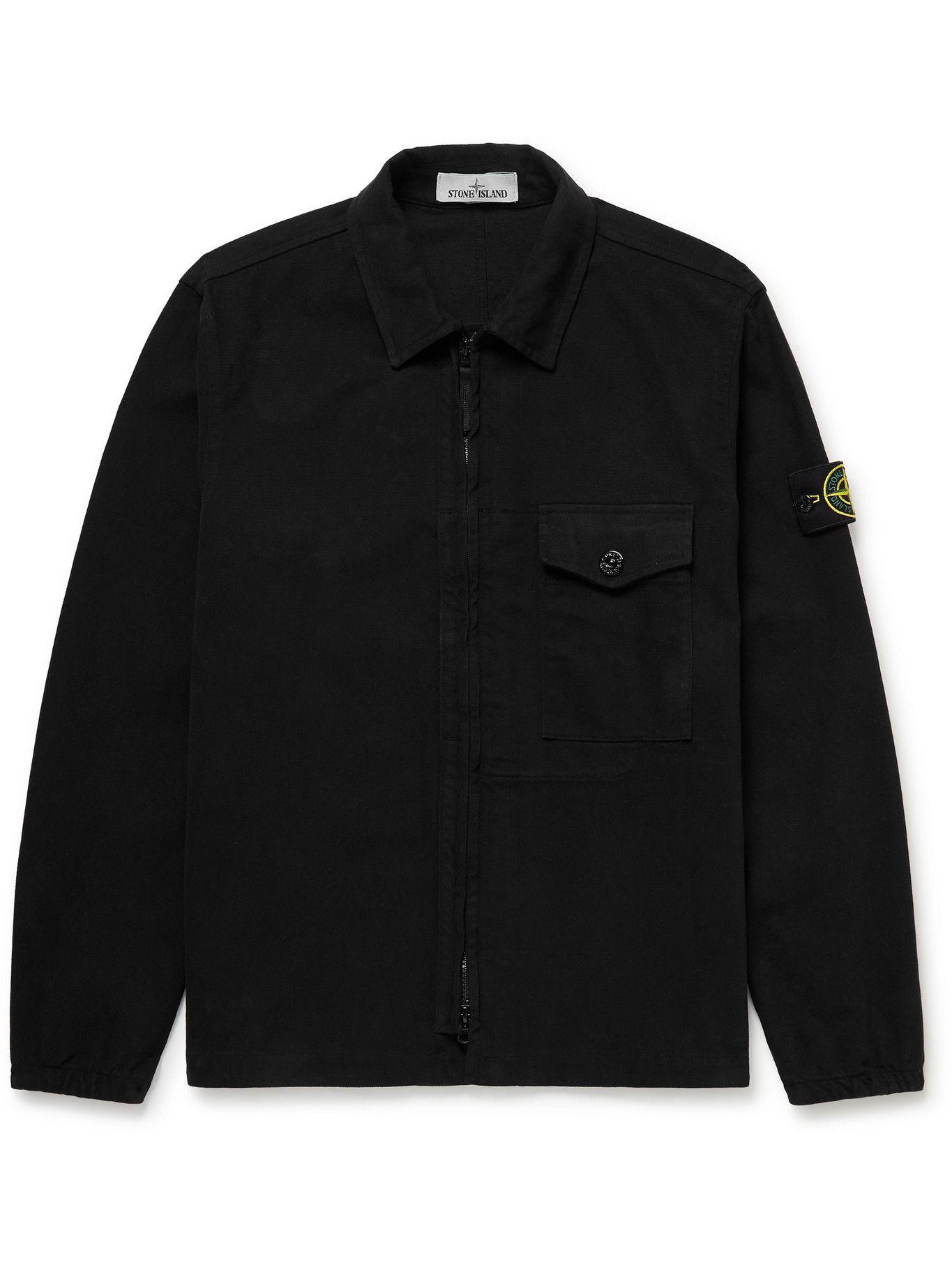 Photo: Stone Island - Logo-Appliquéd Cotton Overshirt - Black
