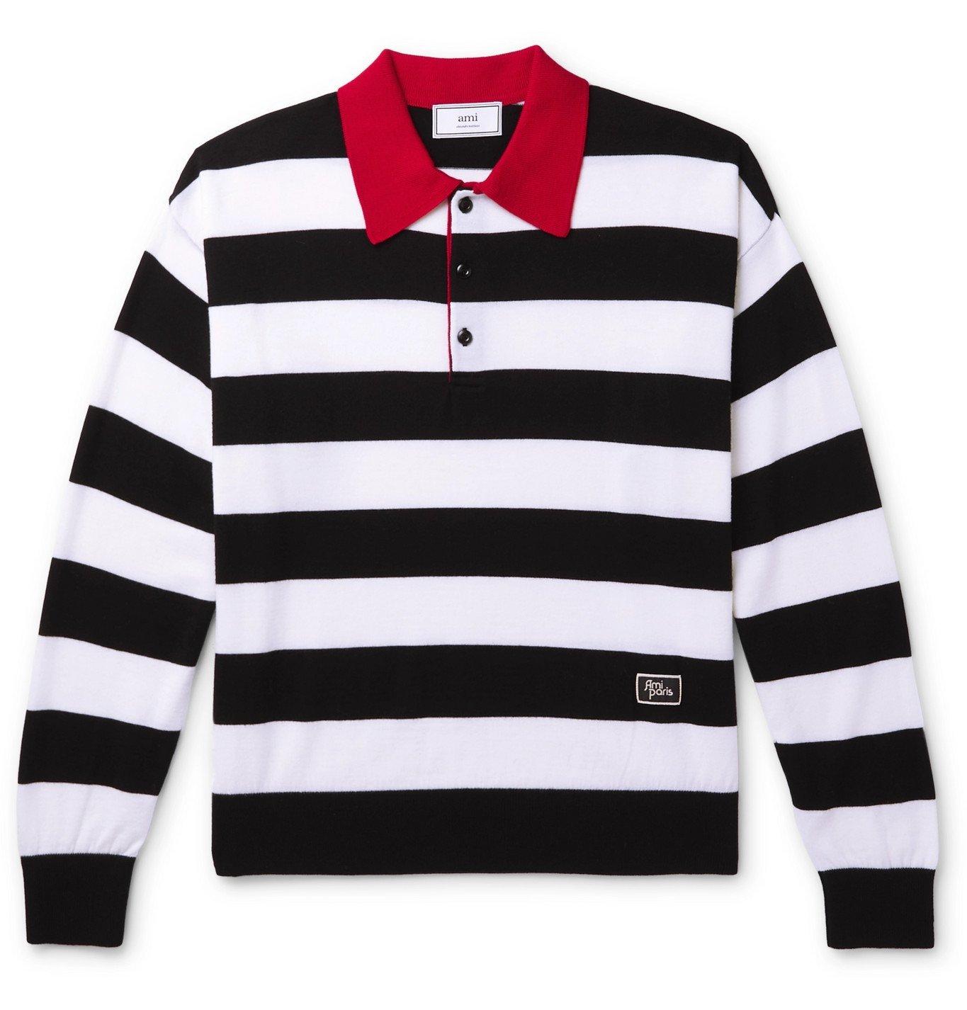 Photo: AMI - Striped Merino Wool Polo Shirt - Black