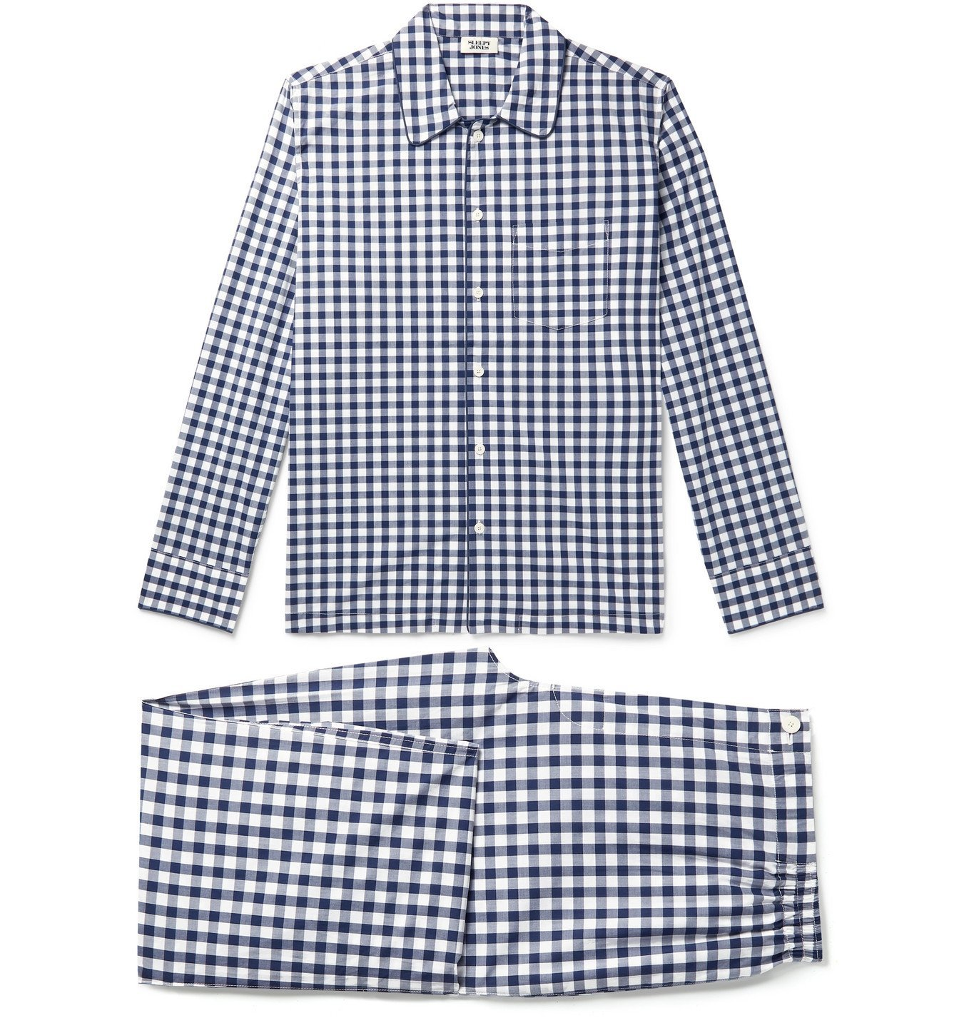 Photo: Sleepy Jones - Henry Piped Gingham Cotton-Poplin Pyjama Set - Blue