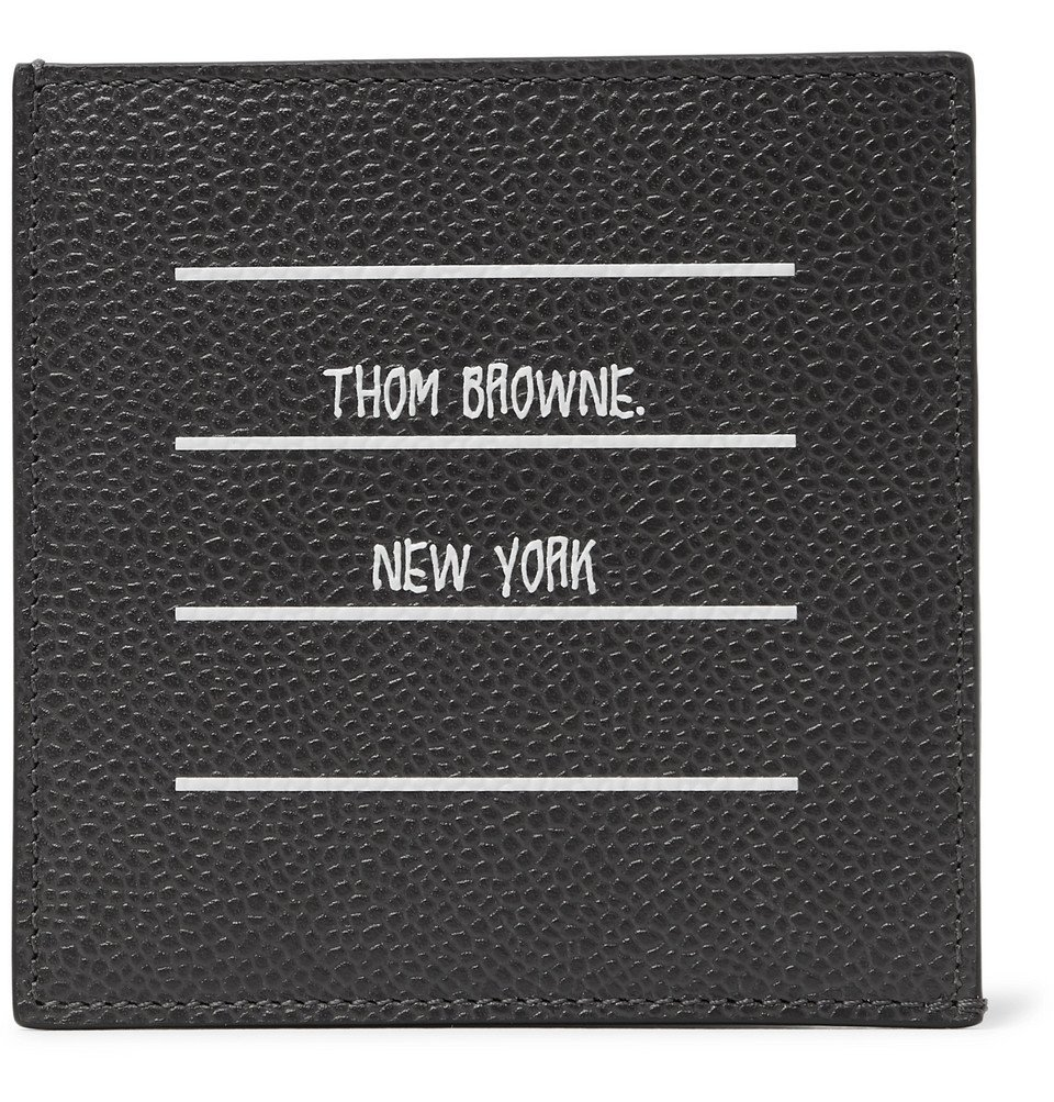 Photo: Thom Browne - Logo-Print Pebble-Grain Leather Cardholder - Gray