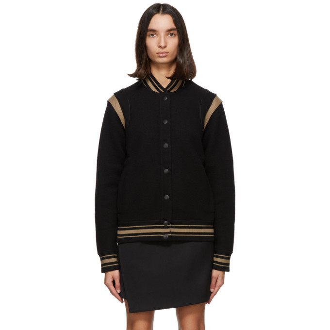 Photo: Givenchy Black and Tan Wool Bomber Jacket