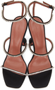 Amina Muaddi Black Satin Gilda Crystal Heeled Sandals