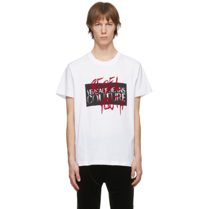 Photo: Versace Jeans Couture White Graffiti Rebel Youth T-Shirt