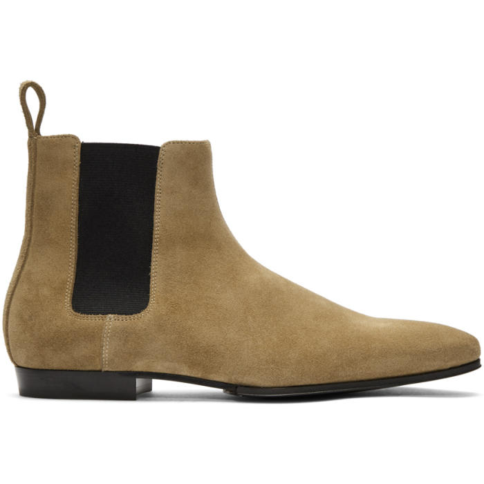 Photo: Balmain Taupe Suede Chelsea Boots