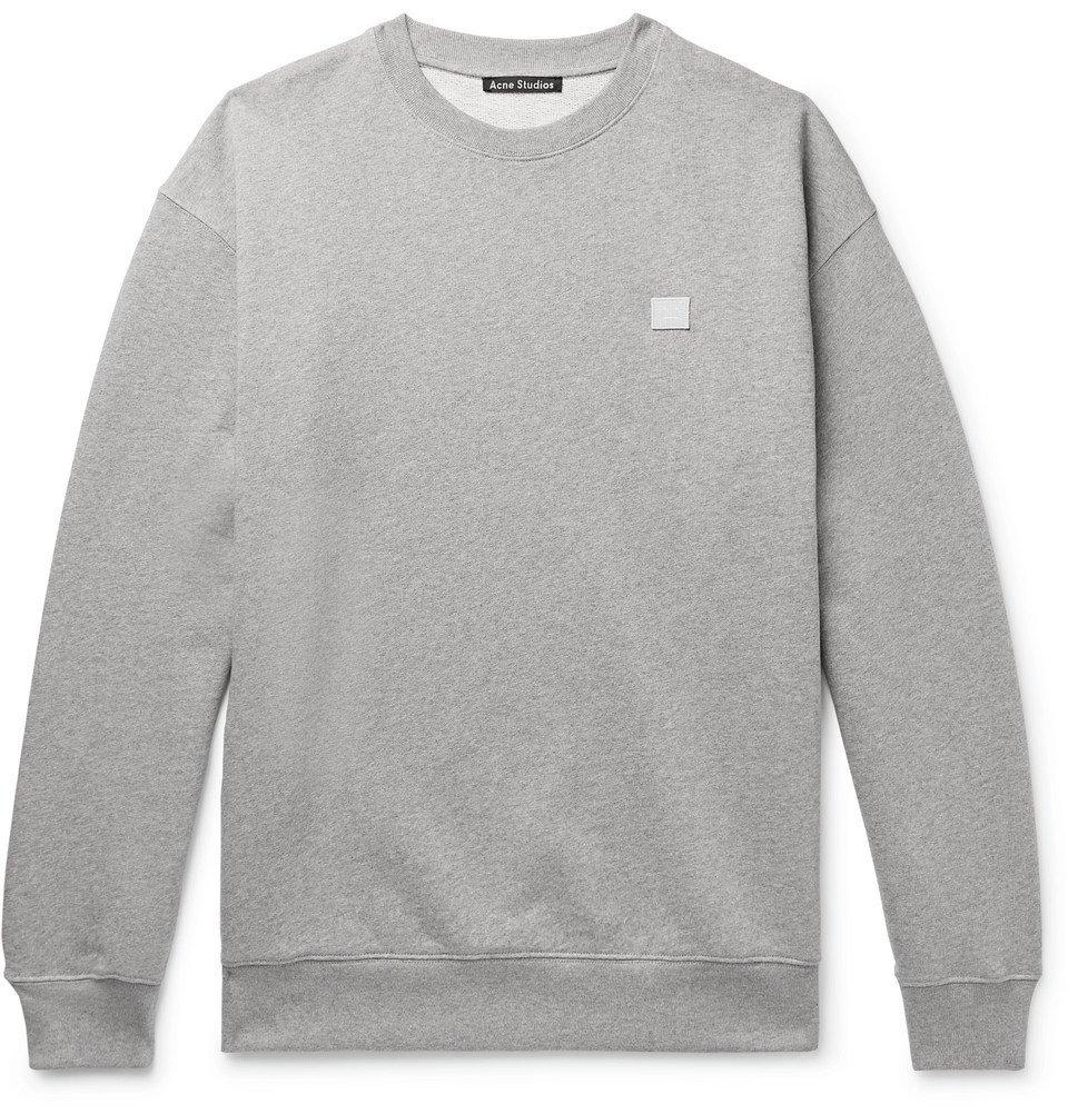 Acne Studios - Forba Logo-Appliquéd Mélange Loopback Cotton-Jersey Sweatshirt - Men - Gray