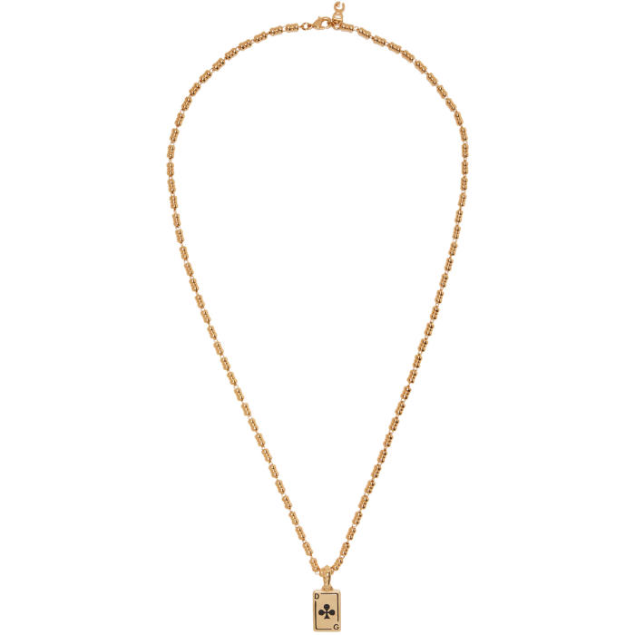 Photo: Dolce and Gabbana Gold Clubs Plaque Necklace