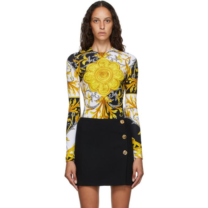 Photo: Versace Brown and Yellow Barocco Bodysuit