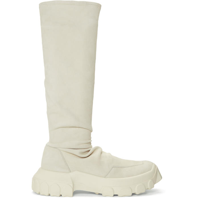 Photo: Rick Owens White Stretch Hiking Sock Sneakers