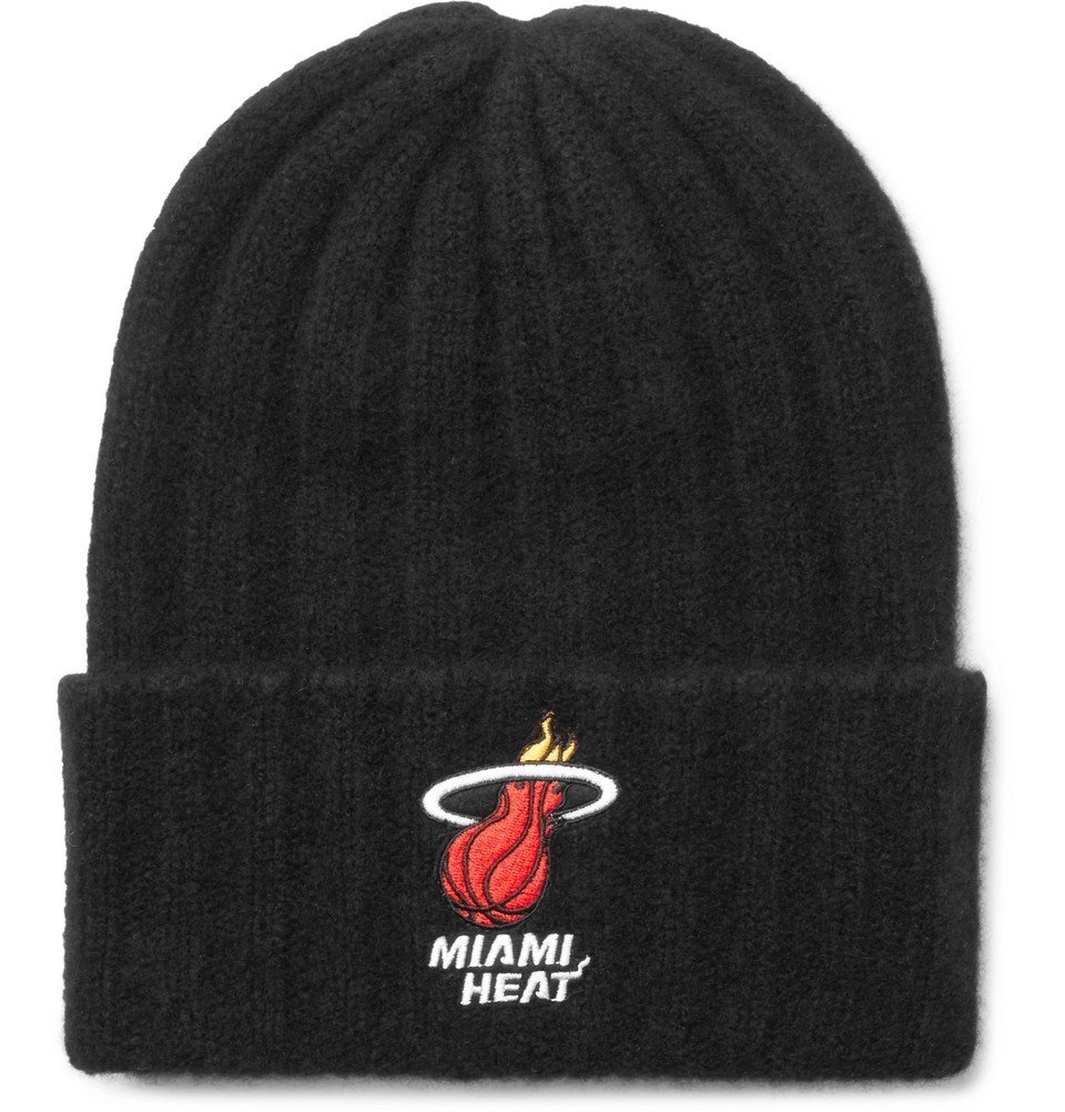 Photo: The Elder Statesman - NBA Miami Heat Appliquéd Ribbed Cashmere Beanie - Black