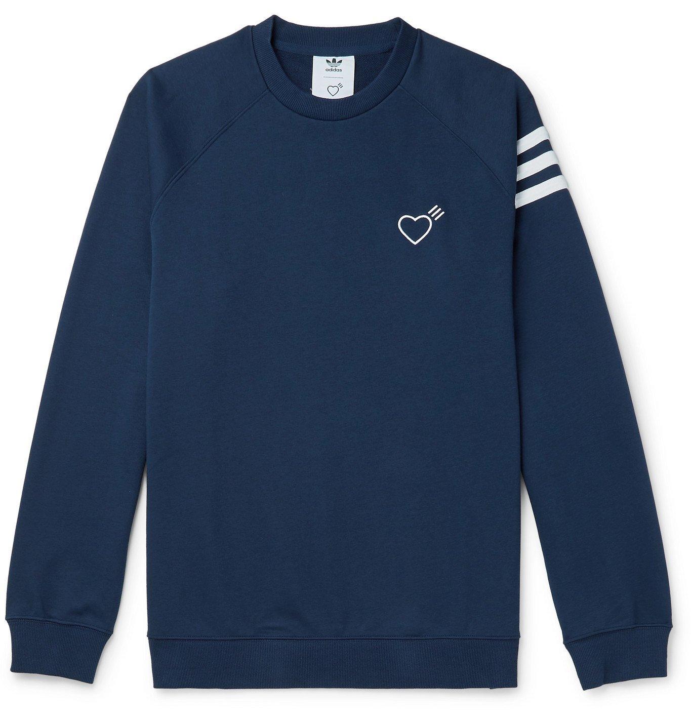 Photo: adidas Consortium - Human Made Logo-Embroidered Striped Loopback Cotton-Jersey Sweatshirt - Blue