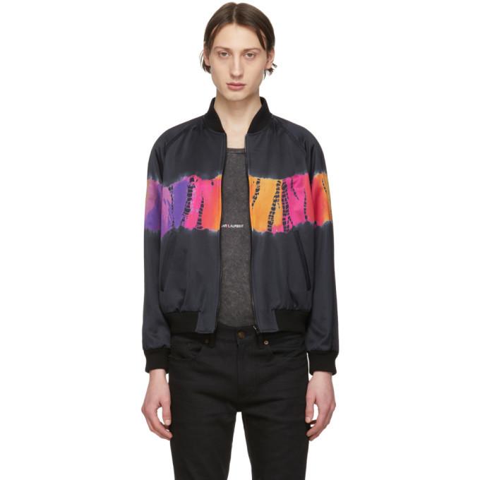 Photo: Saint Laurent Black Tie-Dye Bomber Jacket