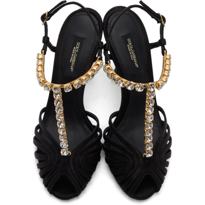 Dolce and Gabbana Black Crystal Strap Heeled Sandals
