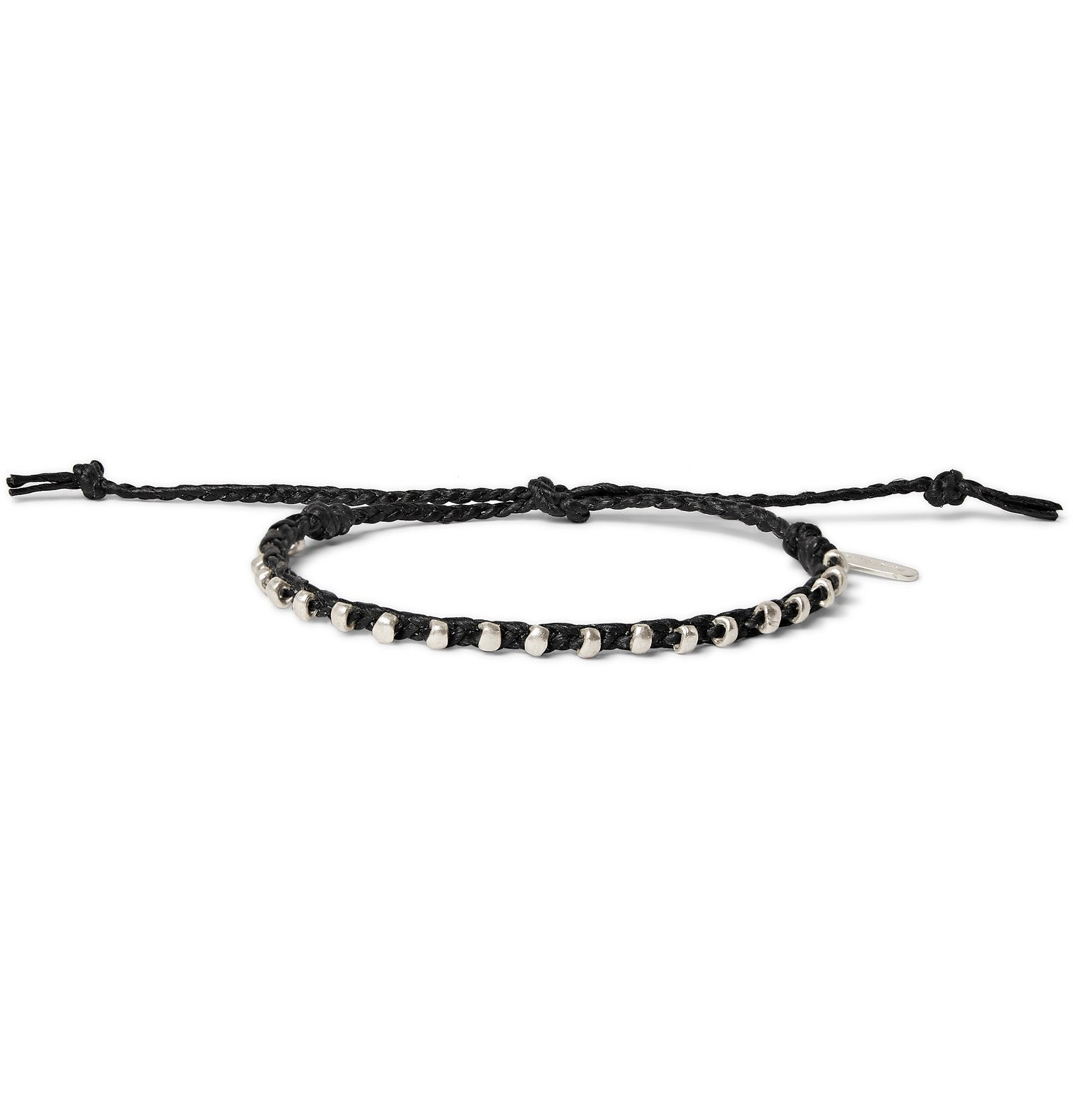 Photo: Paul Smith - Friendship Waxed Cotton and Silver-Tone Bracelet - Black